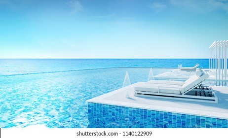 Sunbathing deck and private pool at luxury vila,Relaxing summe,beach lounge,  /3d rendering