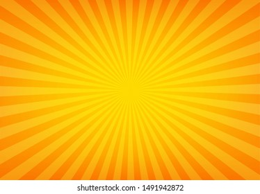 Sunbeam abstract background. Symmetrical radial yellow and orange sun rays. Ornamental manga pattern. Summer poster. Flat style line texture