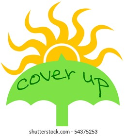 sunburn prevention green umbrella and yellow sun illustration
