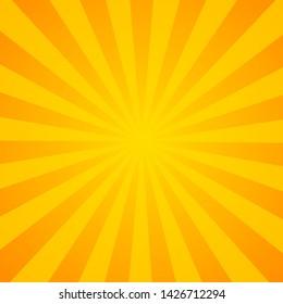 Sunburst background. Orange background with radial lines for retro illustration in pop art style