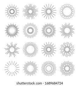 Sunburst icons. Starburst spark blast logo. sun burst rays. Sunshine explosion badge set.