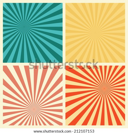 Sunburst Retro Textured Grunge Background Set. Vintage Rays