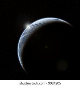 Sunburst start over a planet, stars in background