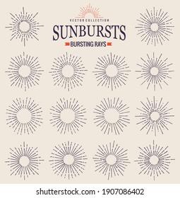 Sunbursts collection of trendy hand drawn retro rays. Sunset, sunrise and radial fireworks symbol. Design elements. Vintage sunbursts in black color