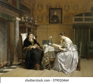 Sunday Morning, by Hendrik Jacobus Scholten, c. 1865-68, Dutch, oil paint on panel. In a prosperous 17th century interior, a silk clad young woman reads a Bible to an old woman in fur trimmed black cl