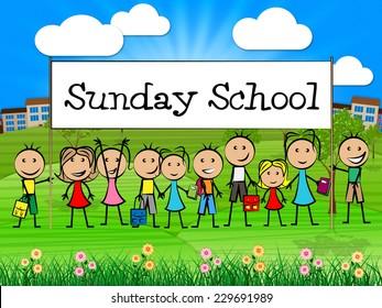 Sunday School Banner Indicating Pray Spiritual And Kids