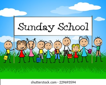 Sunday School Banner Showing Devotee Church And Kids