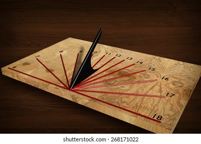 Sundial of wood. 3d illustration