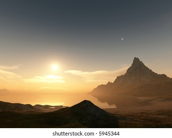 sundown over an ocean bay with a mountain peak and evening star