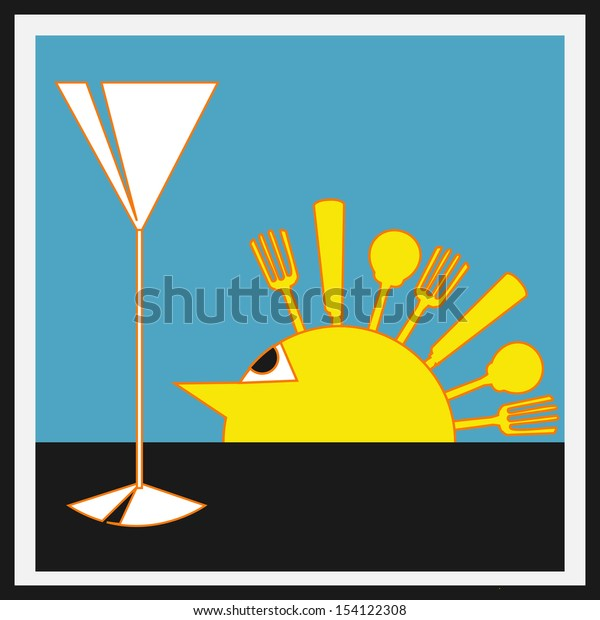 Sundowners Aperitifs,  background with a Deco style sun with cutlery rays and a cocktail glass