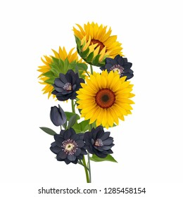 Sunflower bouquet illustration