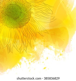Sunflower. Bright Sunny yellow flower on watercolor background. Design for invitation cards, birthday, with love, save the date. The spring style.