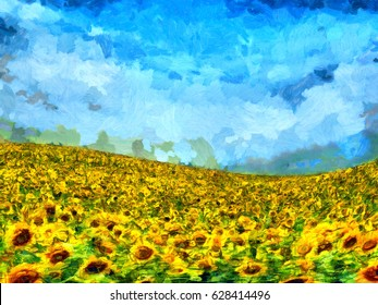 Sunflower field landscape oil painting