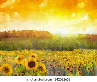 Sunflower flower blossom.Oil painting of a rural sunset landscape with a golden sunflower field. Warm light of the sunset and hill color in orange at the background.