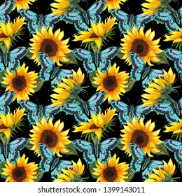 Sunflower seamless pattern. Sunflower fabric background.  Big abstract sunflower flowers with graphic blue batterflies hand drawn with watercolor.