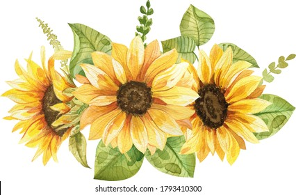 sunflowers bouquet watercolor hand painted composition