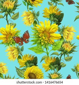 Sunflowers and butterflies. seamless pattern for textile ,fabric ,Wallpaper design