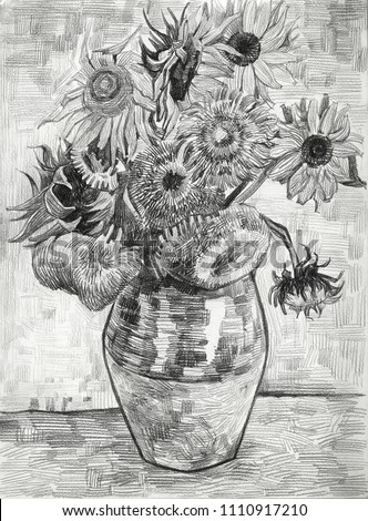 Sunflowers Drawing Art Style Post Impressionism Free Stock
