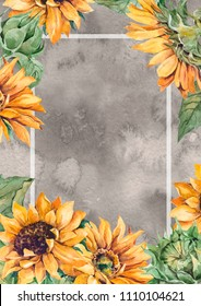 Sunflowers hand drawing. Ideal for greeting card, summer wedding invitation or save the date empty space template. Watercolor paint floral raster illustration frame. Just add your text