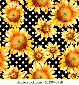 Sunflowers, hand pain watercolor seamless pattern