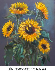 Sunflowers on dark gray background, original oil painting on canvas in impressionistic style.