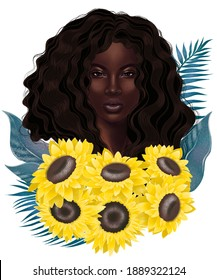Sunflowers with palm leaves and beautiful girl. Fairies of flowers for fabric design. Beautiful flowers digital illustration,3-d rendering.