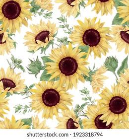 Sunflowers seamless pattern. Watercolor illustration