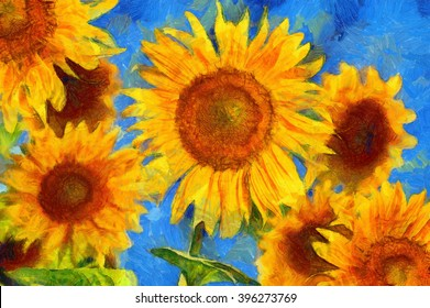 Sunflowers. Vincent van Gogh style. Digital imitation of post impressionism oil painting.