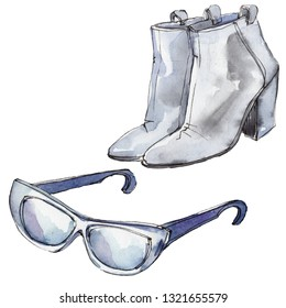 Sunglases and shoes sketch glamour illustration in a watercolor style isolated aquarelle element. Clothes accessories set trendy vogue outfit. Watercolour background fashion illustration set.