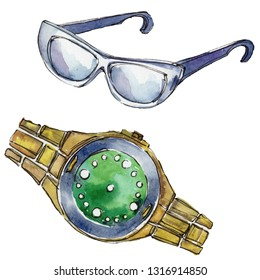 Sunglases and watch sketch glamour illustration in a watercolor style isolated aquarelle element. Clothes accessories set trendy vogue outfit. Watercolour background fashion illustration set.