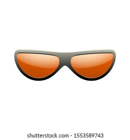 Sunglasses 3D. Summer sunglass shade isolated white background. Fun color sun glass Realistic design eye sight protection. Cool fashion eyeglasses. Beach summer sunlight accessory illustration