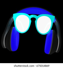 Sunglasses and headphone for your face. 3d illustration. On a black background.