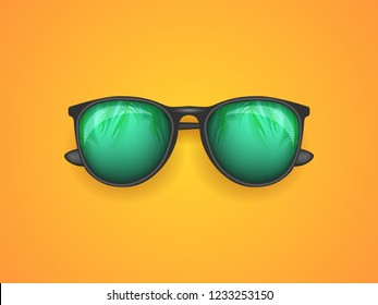Sunglasses on an orange background with a copy space. Eyeglasses illustration.