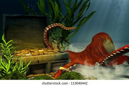 Sunken chest, treasure and octopus
