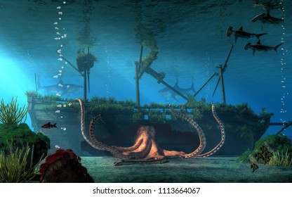 A sunken pirate ship lies on the seabed in shallow water. As sharks and fish circle the wreck, a giant octopus emerges from a massive hole in the side of the hull.