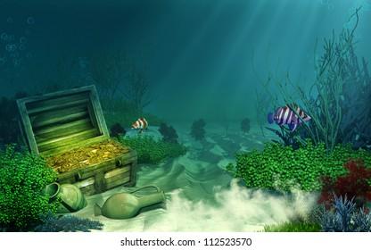 Sunken treasure chest
