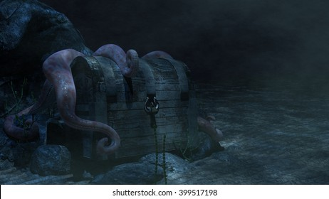 Sunken Treasure Chest An underwater treasure chest with a large octopus draping its tentacles over the lid... 3d Rendering