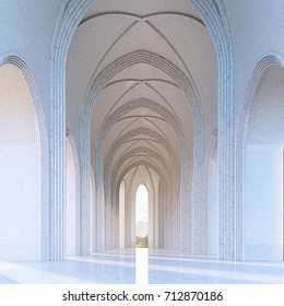 Sunlight in classic gothic architecture interior 3d render