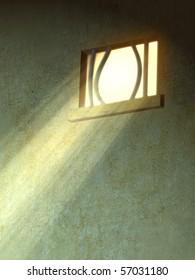 Sunlight entering through a broken prison window. Digital illustration.