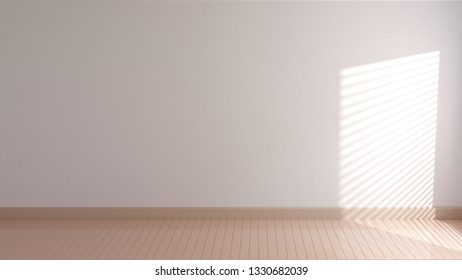sunlight and window frame shadow on interior wall and wooden floor. 3d rendering.
