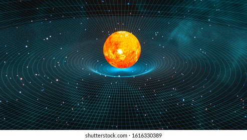 Sun-like star creating gravitational waves in space-time continuum 3d rendering