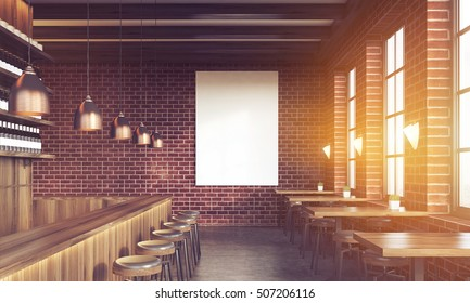 Sunlit bar interior with stools, tables and large vertical poster on brick wall. Concept of pub culture. 3d rendering. Mock up. Toned image