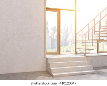 Sunlit concrete interior with stairs, window with New York city view and blank wall. Mock up, 3D Rendering