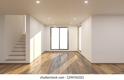 Sunlit Empty Room by the Stairs 3D Rendering