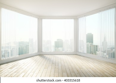 Sunlit interior design with panoramic windows revealing city view. 3D Rendering