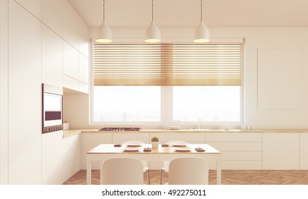 Sunlit kitchen interior with shaded window, working surface, family dining table and counter. Concept of family gathering. 3d rendering. Mock up. Toned image