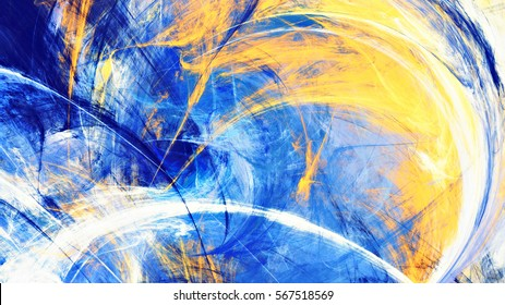 Sunny day. Abstract bright motion composition. Modern futuristic sunny background. Blue and yellow color artistic pattern of paints. Fractal artwork for creative graphic design