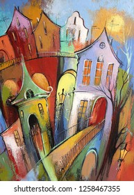 Sunny day in a fabulous town. Photo of acrylic painting on canvas, my own artwork.