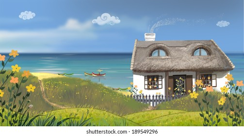 The sunny day.  The southern white home on a seaside among a lot of flowers. Author's illustration