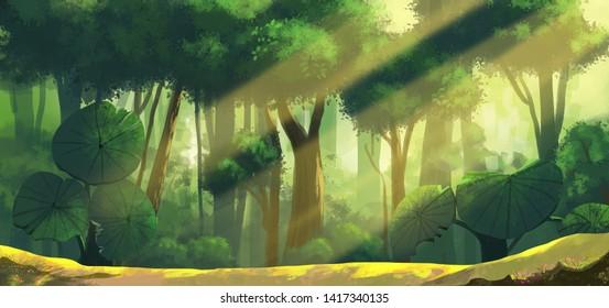 Raijin-ijev prvi genin ispit Sunny-forest-background-cartoon-illustration-260nw-1417340135